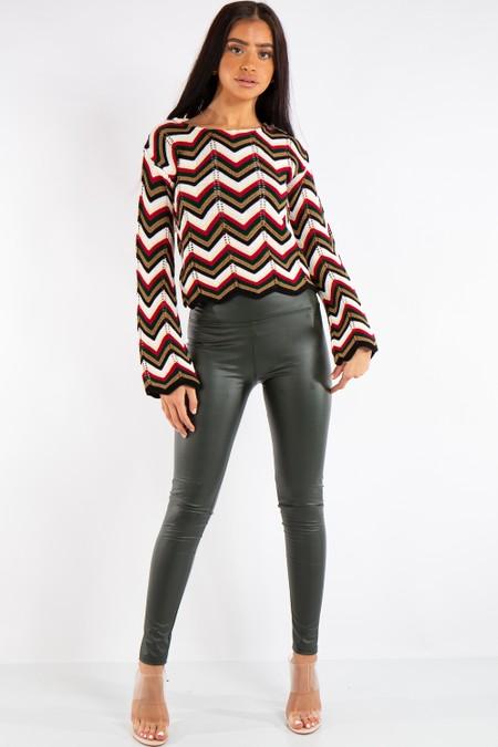 Athena Khaki High Waist Faux Leather Skinny Leggings
