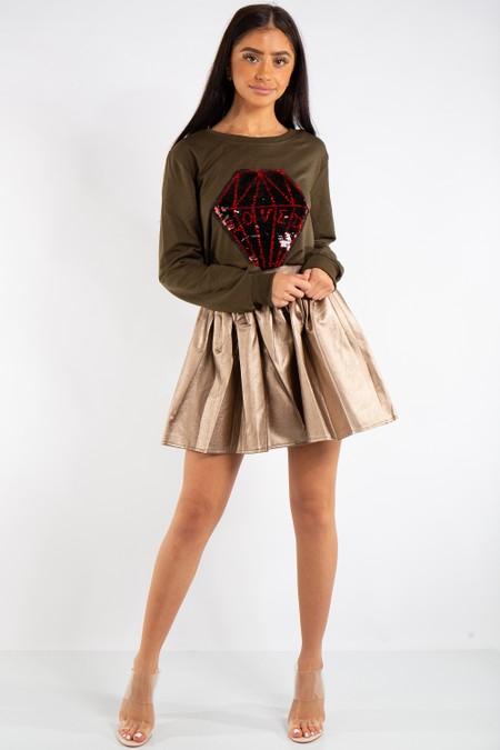Samantha Gold PU Leather Skater Skirt