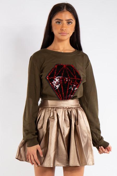 Caroline Khaki Diamond sequin Love Sweatshirt Jumper