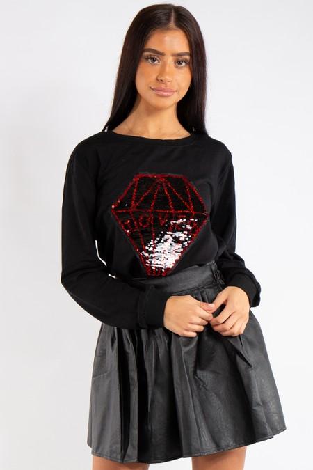 Caroline Black Diamond sequin Love Sweatshirt Jumper