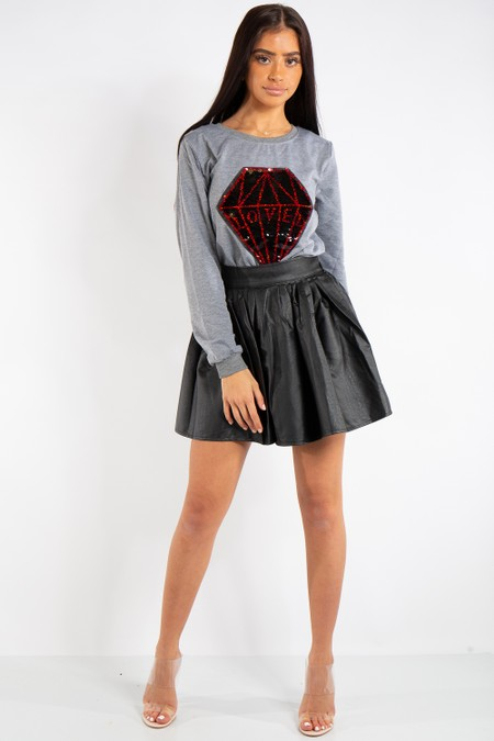 Samantha Black PU Leather Skater Skirt