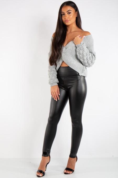 Athena Black High Waist Faux Leather Skinny Leggings