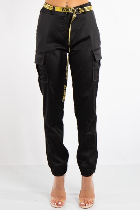 Lyla Black Satin Cargo Combat Trousers