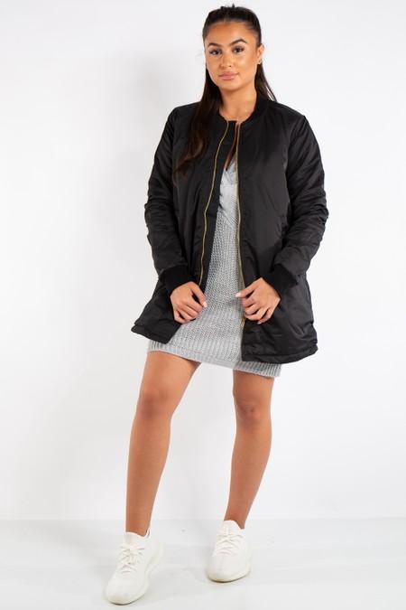 Scarlett Black Longline Straight Bomber Jacket