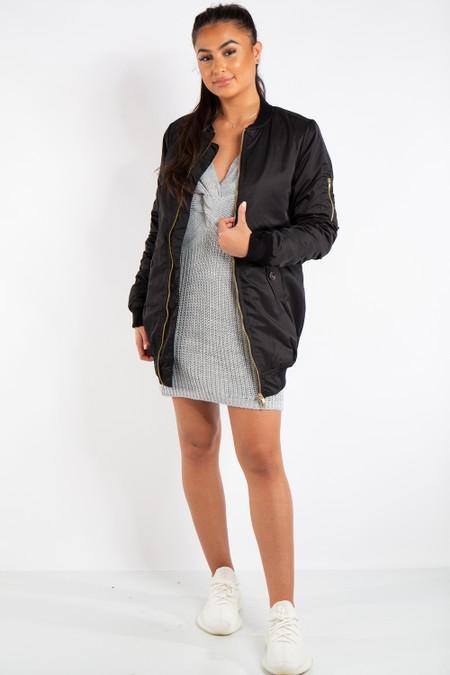 Madison Black Longline Bomber Jacket