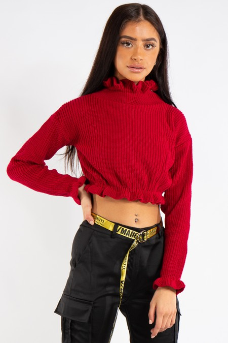 Emma Red Ruffle Neck Cropped Jumper