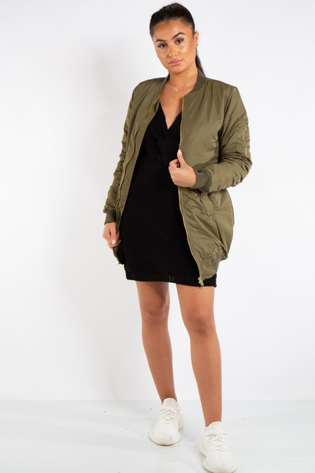 Madison Khaki Longline Bomber Jacket