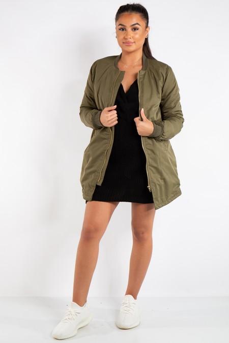 Scarlett Khaki Longline Straight Bomber Jacket