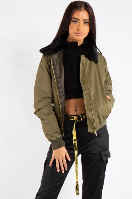Ella Khaki Fur Collar Bomber Jacket