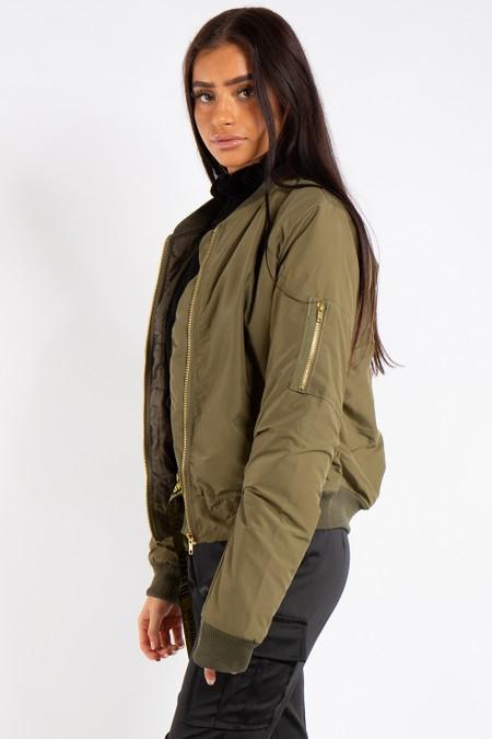 Elizabeth Khaki Classic Bomber Jacket