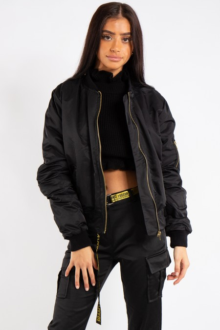 Elizabeth Black Classic Bomber Jacket