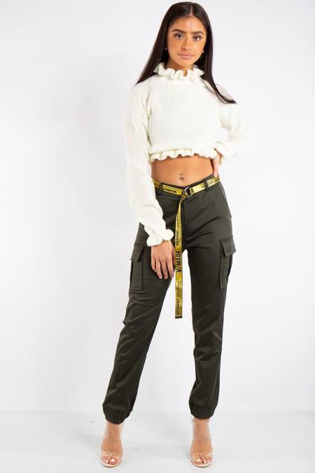 Lyla Khaki Satin Cargo Combat Trousers