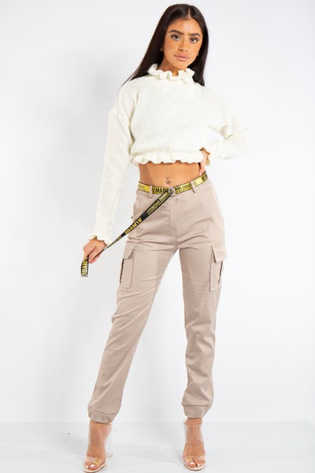 Lyla Stone Satin Cargo Combat Trousers