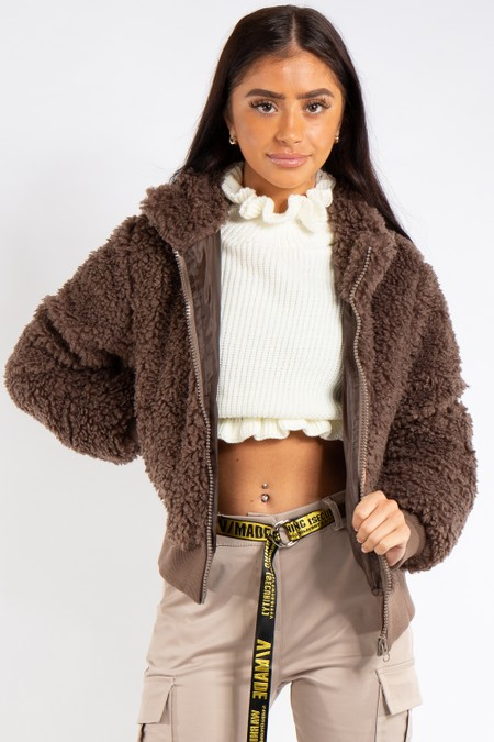 Annabelle Taupe Teddy Bomber Jacket