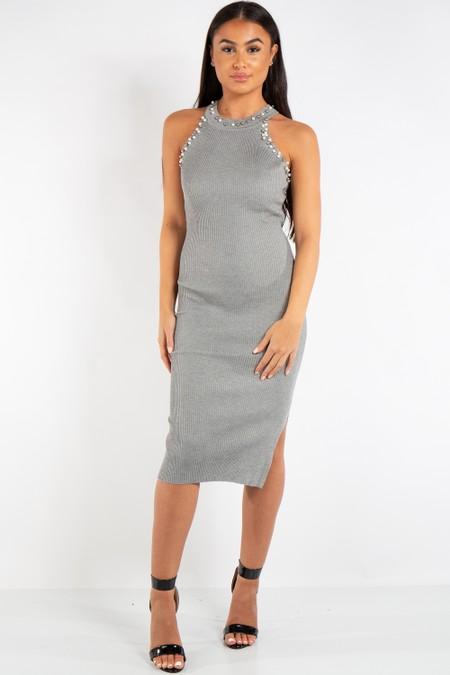 Natalie Grey Pearl Ribbed Halter Neck Knit Midi Dress