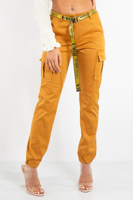 Lyla Mustard Satin Cargo Combat Trousers