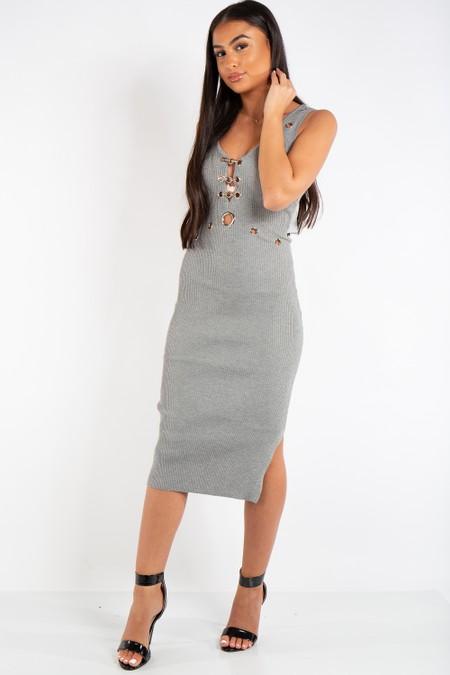 Zoe Grey Metal eyelet Ribbed Knit Midi Dress