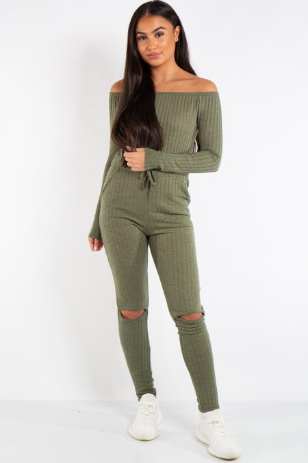 Evelyn Khaki Knit Ripped Knee Bardot Jumpsuit