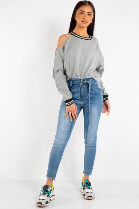 Gianna Grey Side Zip One Shoulder Sweatshirt