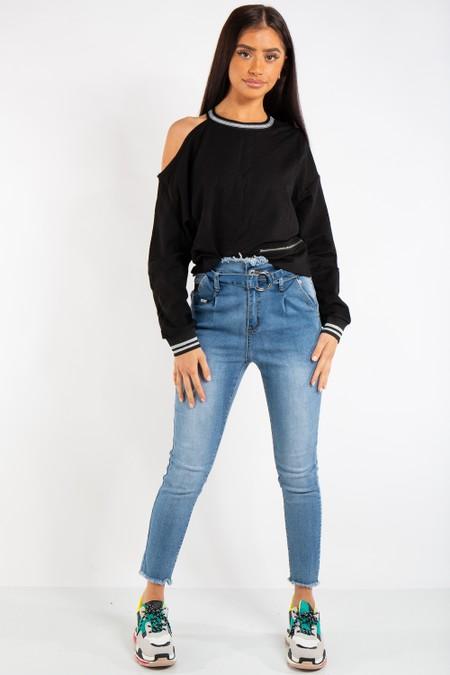 Gianna Black Side Zip One Shoulder Sweatshirt