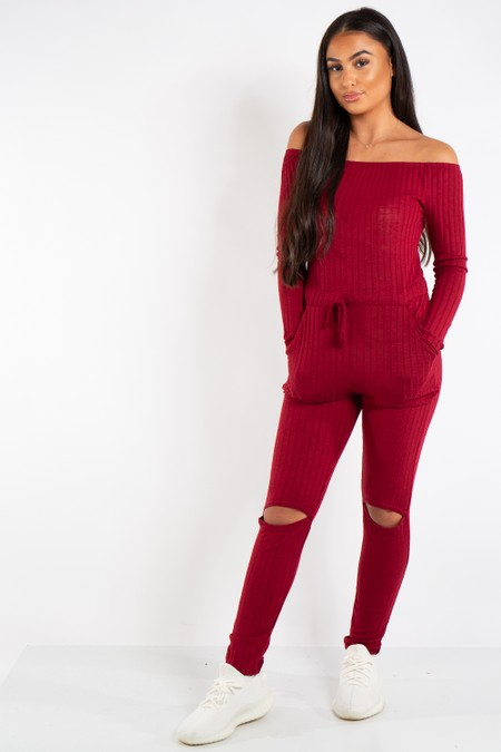 Evelyn Wine Knit Ripped Knee Bardot Jumpsuit