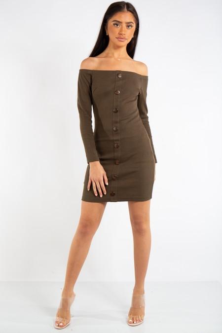 Jade Khaki Ribbed Button Long Sleeve Bardot Dress