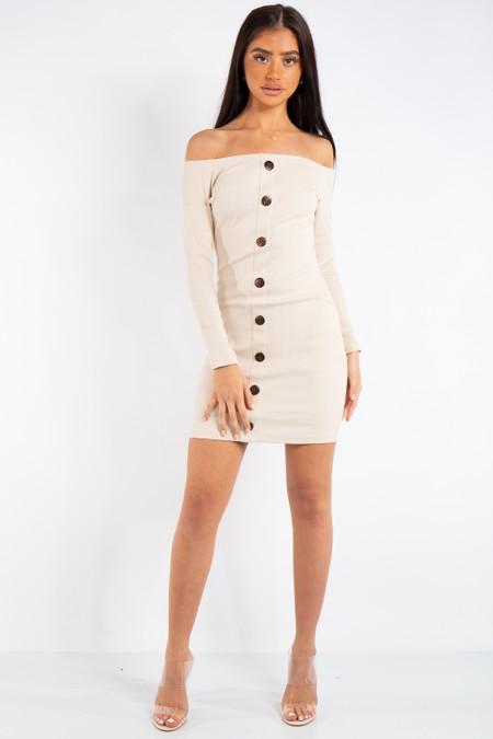 Jade Beige Ribbed Button Long Sleeve Bardot Dress