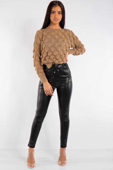 Alexa Camel Bobble Leaf Knit Jumper