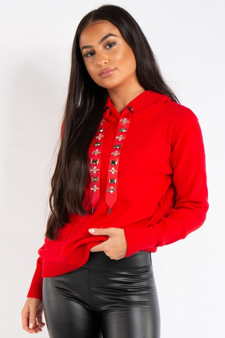 Ashley Red Knitted Jewel Embellished Hoodie Jumper