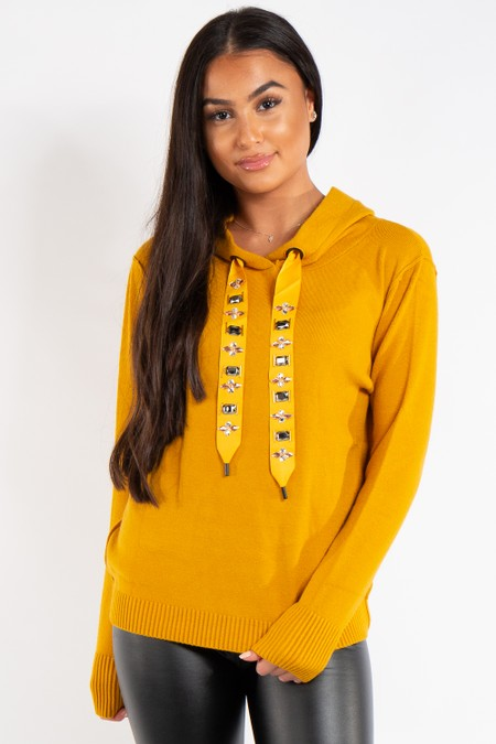 Ashley Mustard Knitted Jewel Embellished Hoodie Jumper