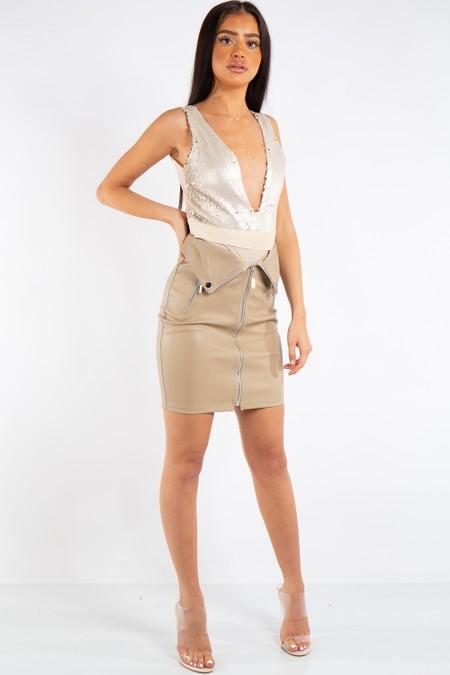 Madeline Beige PU Zip Detail Biker Mini Skirt