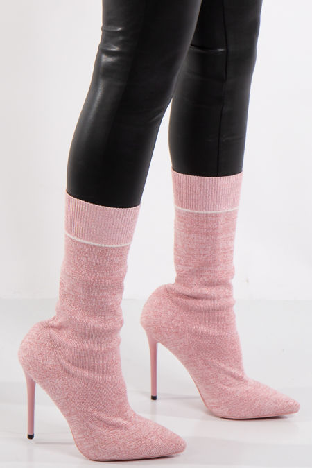 Camilla Pink Glitter Stiletto Sock Boot
