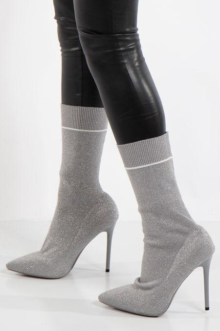 Camilla Silver Glitter Stiletto Sock Boots