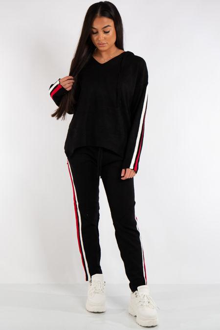 Daniella Black Hooded Knitted Stripe Loungewear Set