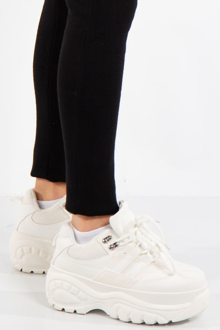 Sage White Lace Up Chunky Trainers