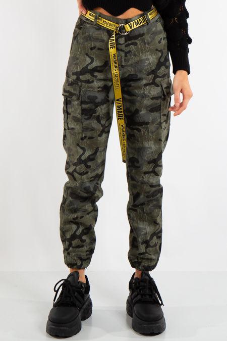 Sophie Khaki Camo Cargo Combat Trousers