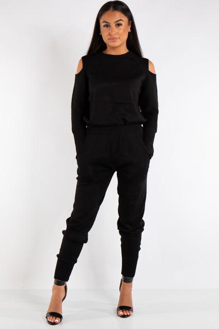 Alessandra Black Cold Shoulder Loungewear Set