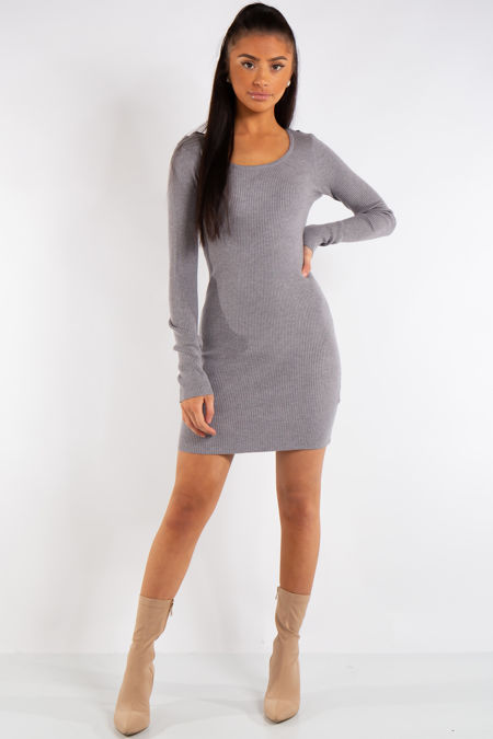 Arielle Grey Knit Ribbed Crossover Back Dress