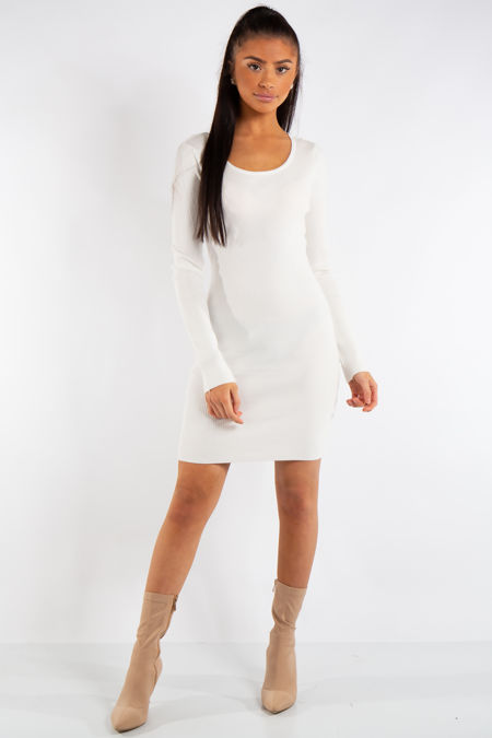 Arielle White Knit Ribbed Crossover Back Dress