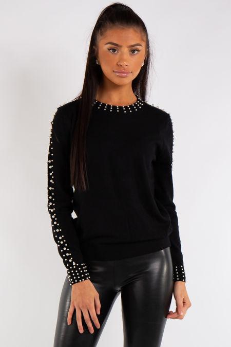 Myla Black Knitted Pearl Detail Jumper