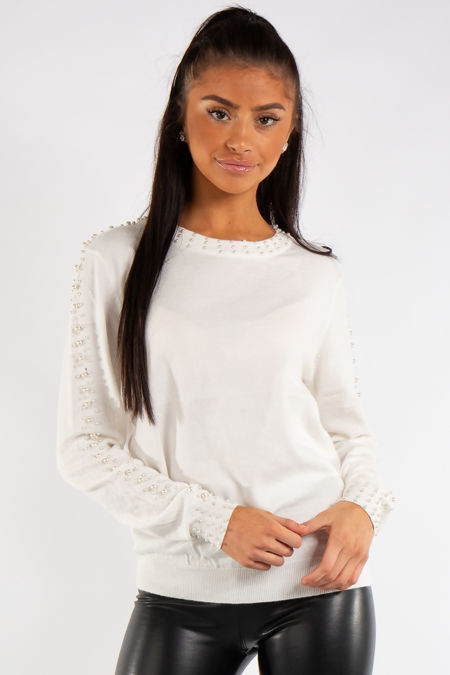 Myla White Knit Pearl Detail Jumper