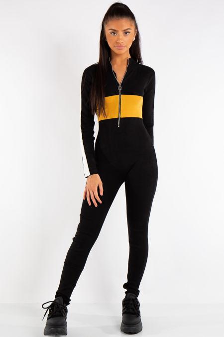 Ada Mustard Block Ribbed Jumpsuit
