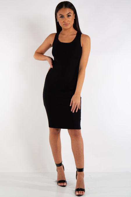 Makenna Black Ribbed Midi Bodycon Tie Back Dress