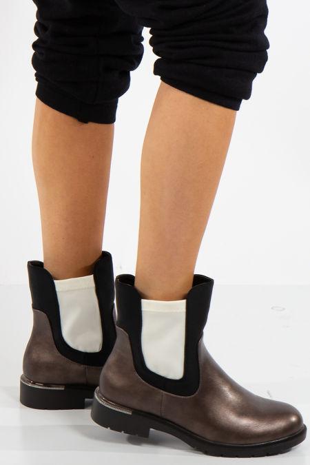 Talia Gun Metal Grey Contrast Chelsea Boots