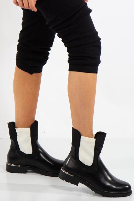 Talia Black Contrast Chelsea Boots