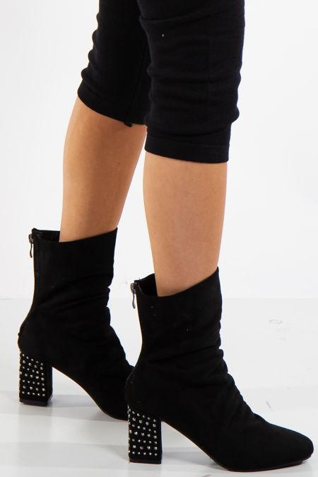 Jennifer Black Studded Heel Faux Suede Ankle Boots
