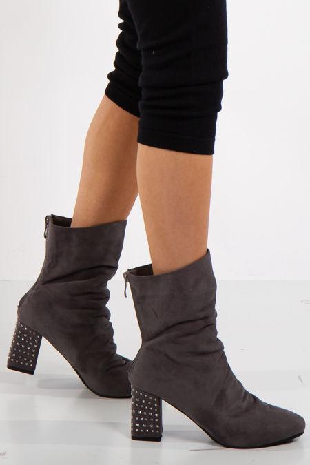 Jennifer Grey Studded Heel Faux Suede Ankle Boots