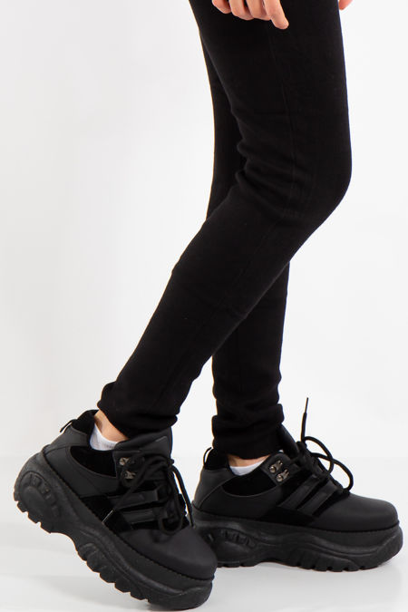Sage Black Lace Up Chunky Trainers