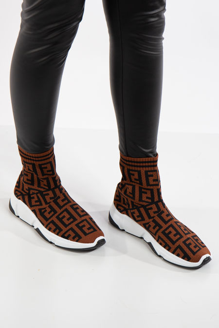 Paris Brown Printed Stretch Knit High Top Sock Trainers