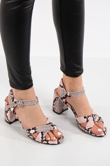 Blair Pink Snake Print Sandals